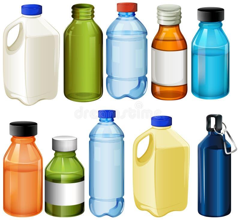 Diversas botellas stock de ilustración