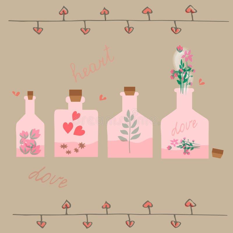 Diversas botellas con la poción de amor dentro ilustración del vector