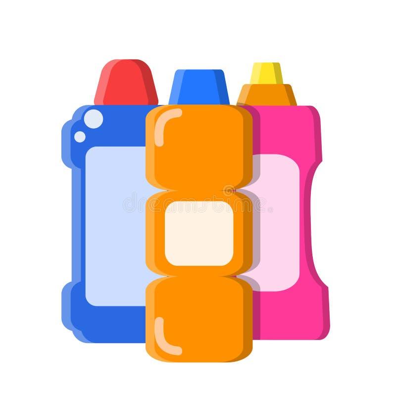 Diversas botellas del color con champú, jabón líquido y el limpiador en estilo plano en el ejemplo blanco, común del vector ilustración del vector