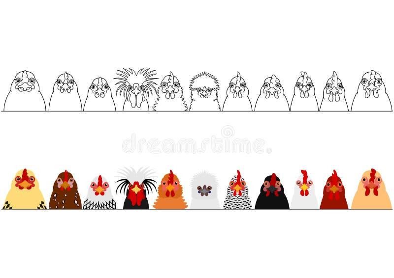Diversas cabezas del pollo en fila ilustración del vector