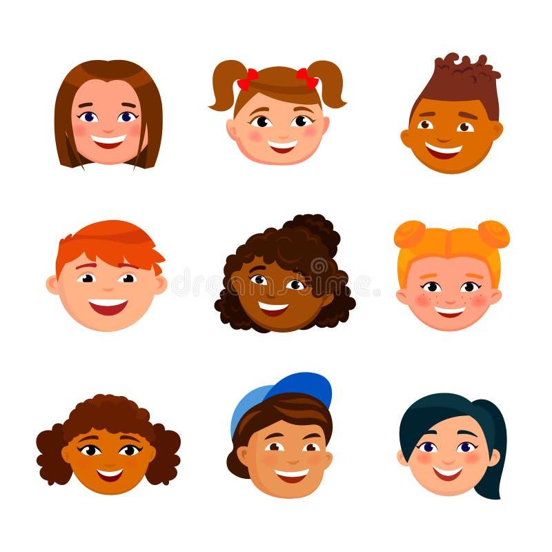 Diversas caras alegres de los niños aisladas en el fondo blanco Elementos infographic de las cabezas divertidas lindas de las muc libre illustration