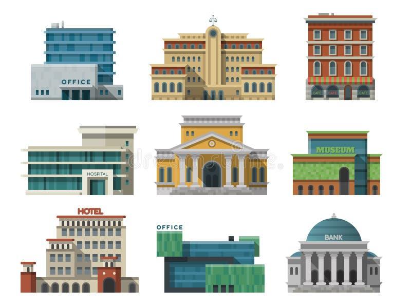 Diversas casas de los edificios públicos de la ciudad fijaron diseño plano stock de ilustración
