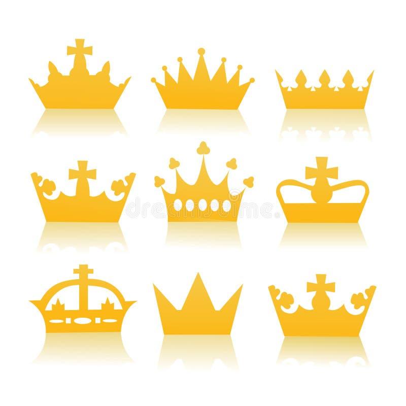 Diversas coronas stock de ilustración