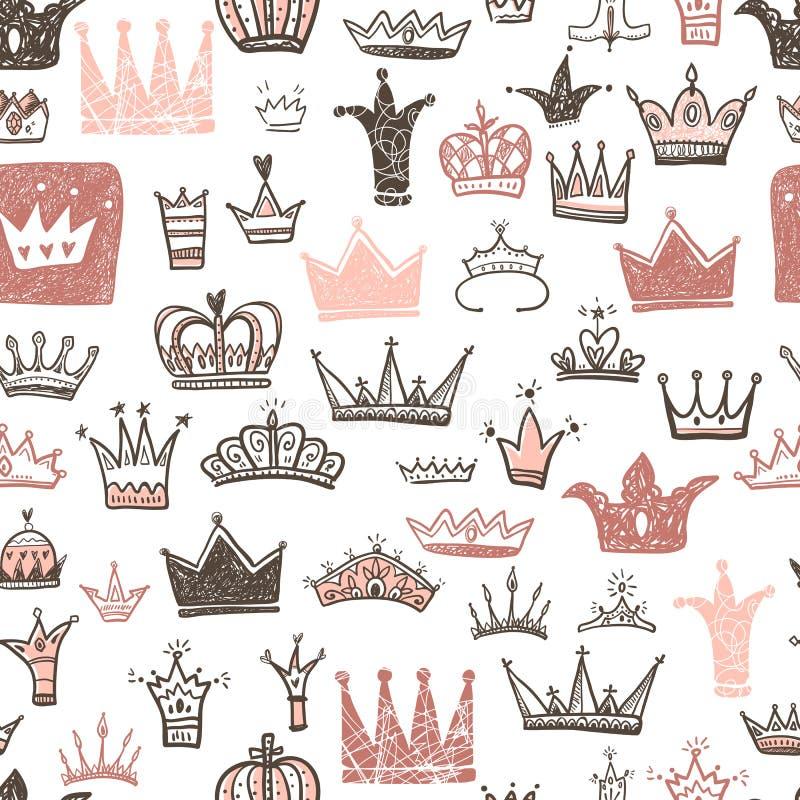 Diversas coronas dibujadas mano fijadas, estilo del garabato del ejemplo del vector stock de ilustración