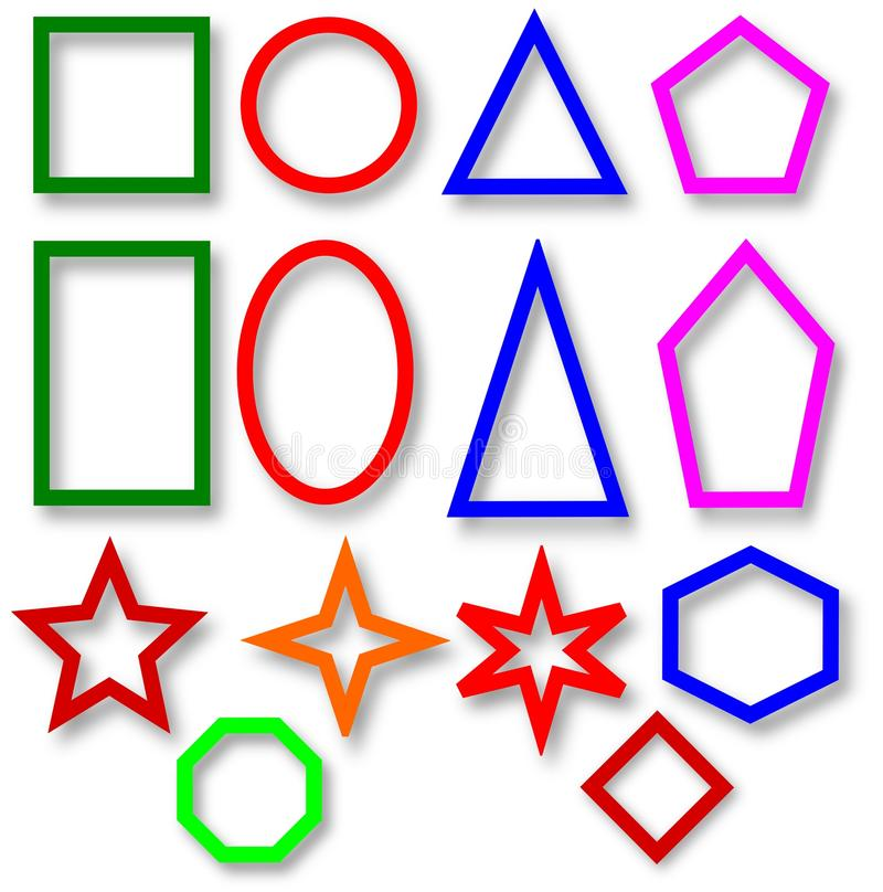 Diversas dimensiones de una variable geométricas coloreadas fotos de archivo libres de regalías