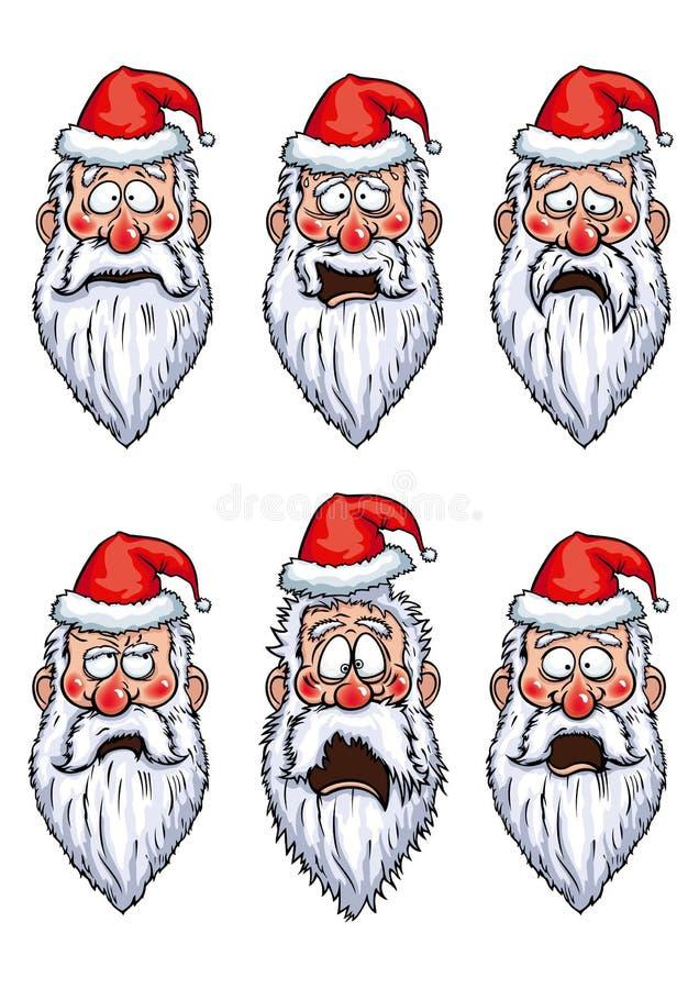 Diversas emociones de Santa Claus fijadas ilustración del vector