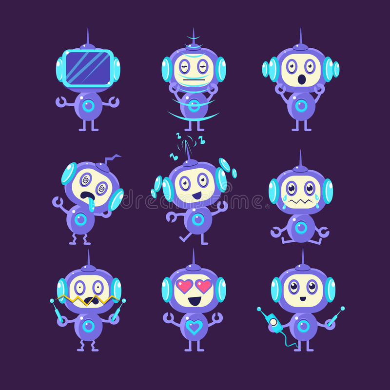 Diversas emociones del robot fijadas stock de ilustración