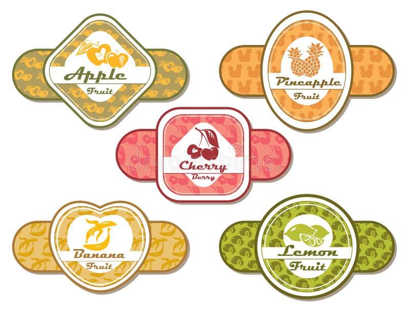 Diversas escrituras de la etiqueta para las frutas y las bayas ilustración del vector