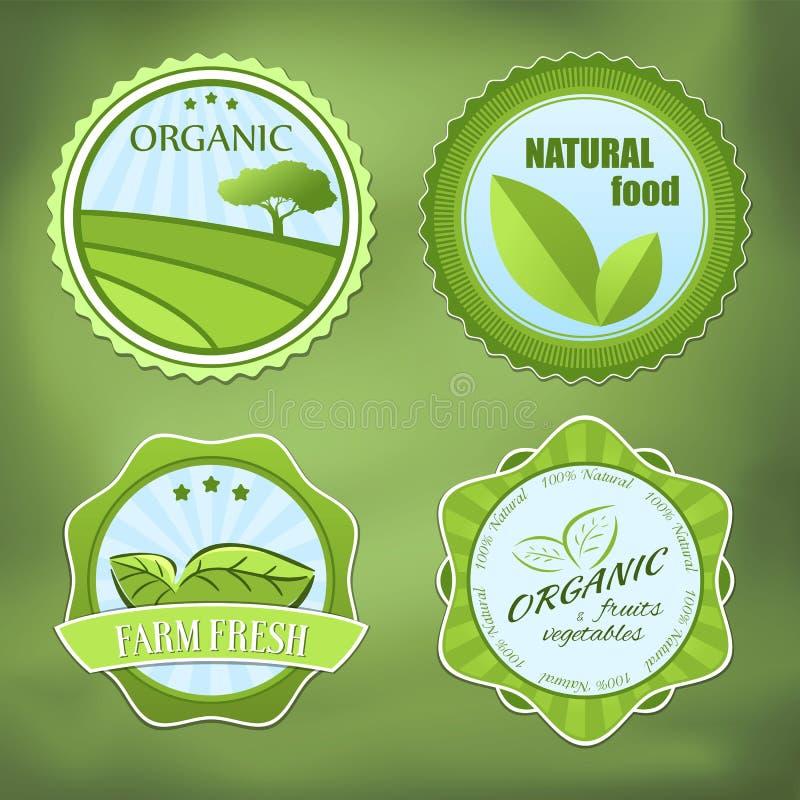 Diversas etiquetas del alimento biológico stock de ilustración