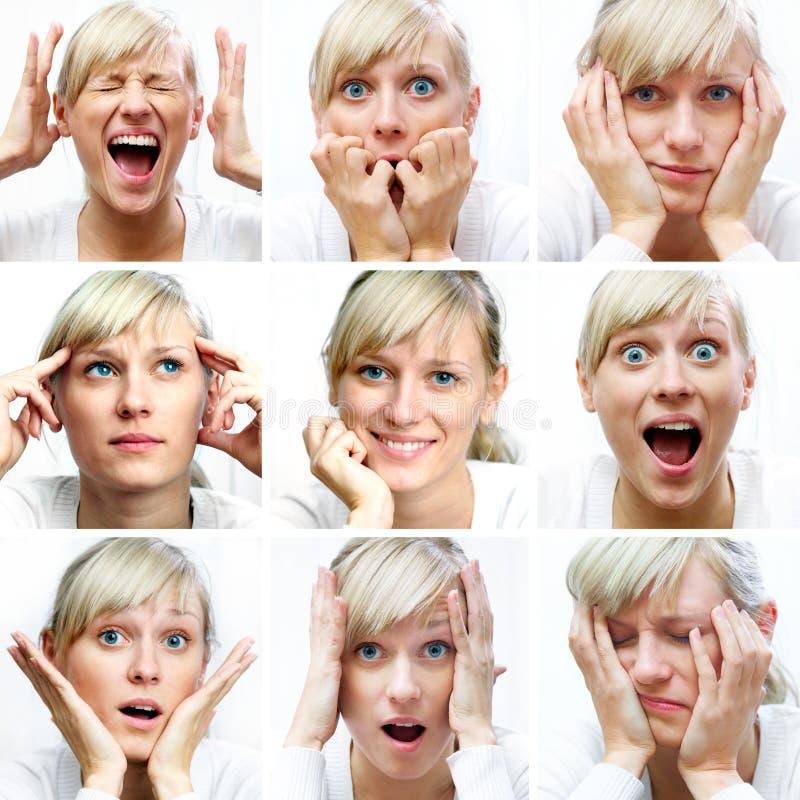 Diversas expresiones faciales foto de archivo libre de regalías