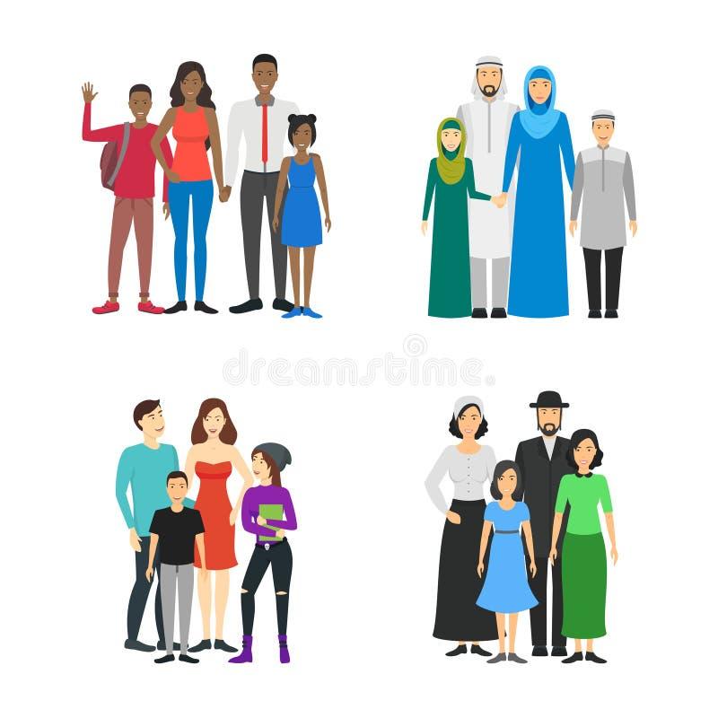 Diversas familias de los nacionales de los personajes de dibujos animados fijadas Vector stock de ilustración