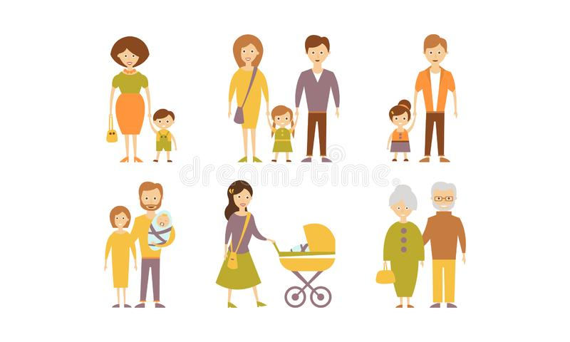 Diversas familias fijan, miman, engendran, hijo, hija, ejemplo del vector de los abuelos en un fondo blanco libre illustration