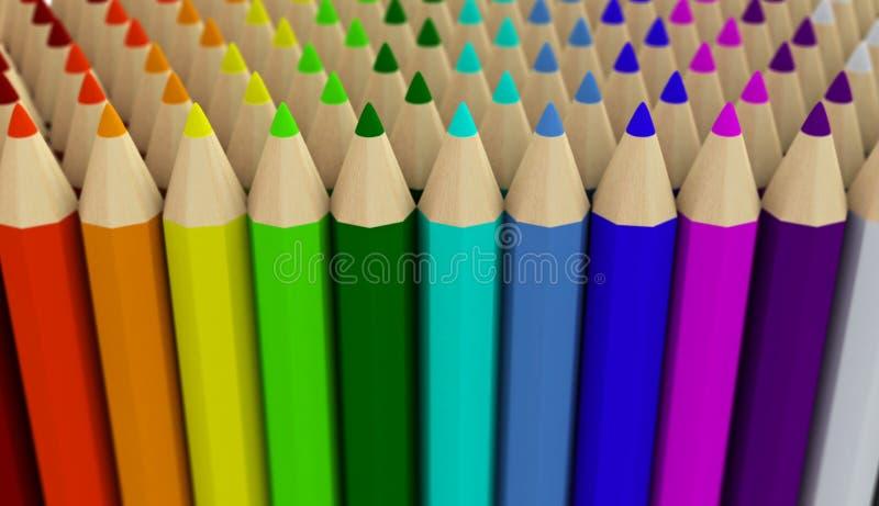 Diversas fileiras dos lápis coloridos isolados no fundo branco ilustração stock