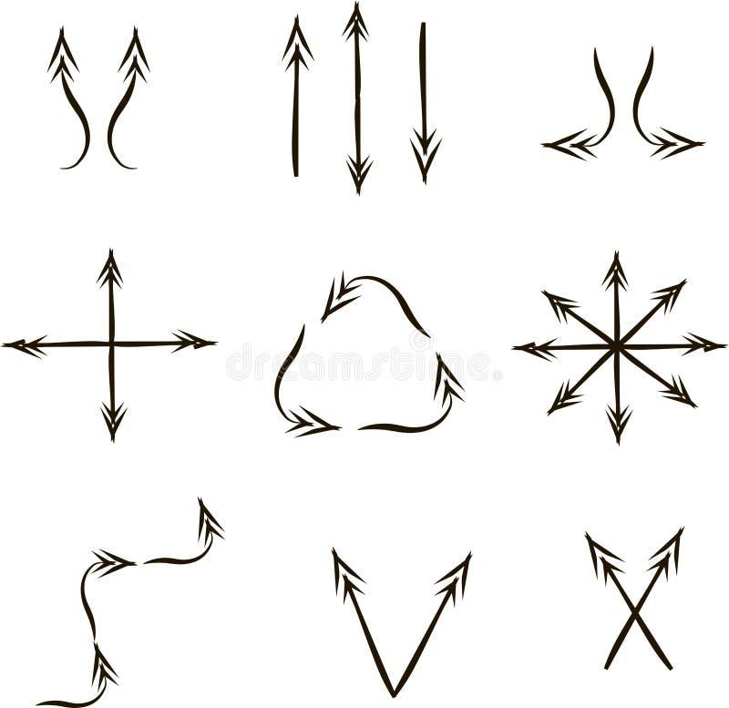 Diversas flechas de la dirección, gráficos, negros en blanco ilustración del vector