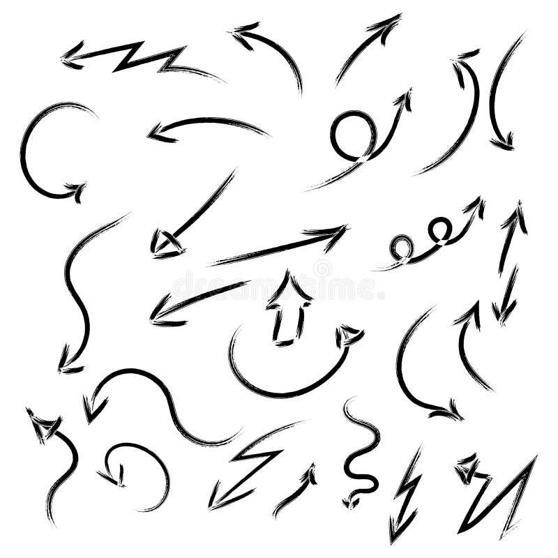 Diversas flechas a mano del sistema estupendo, diseño gráfico de vector Ilustraci?n del vector ilustración del vector