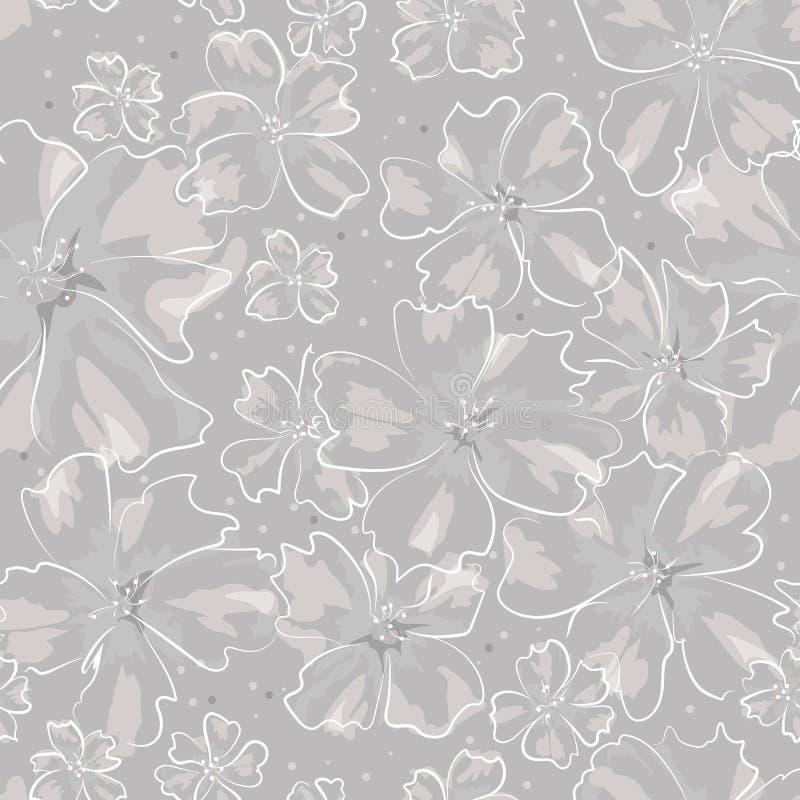 Diversas flores abstractas del tamaño en el esquema blanco en fondo gris libre illustration