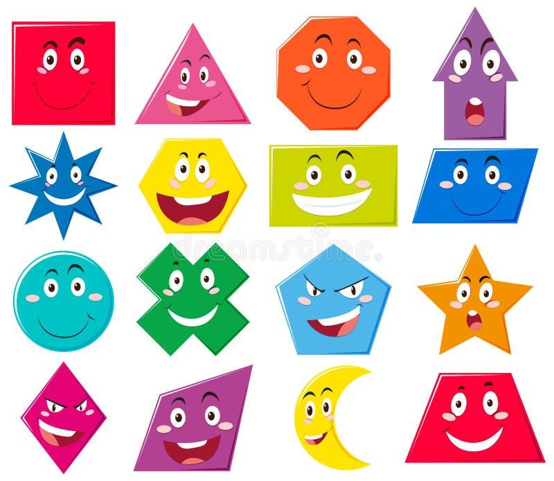 Diversas formas con expresiones faciales libre illustration