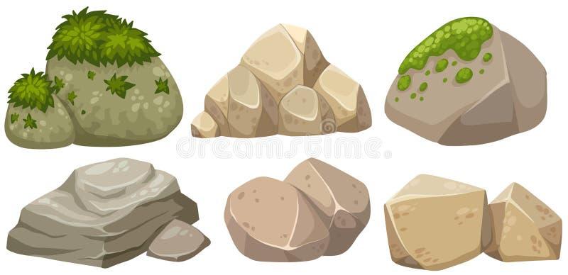 Diversas formas de la piedra con el musgo ilustración del vector