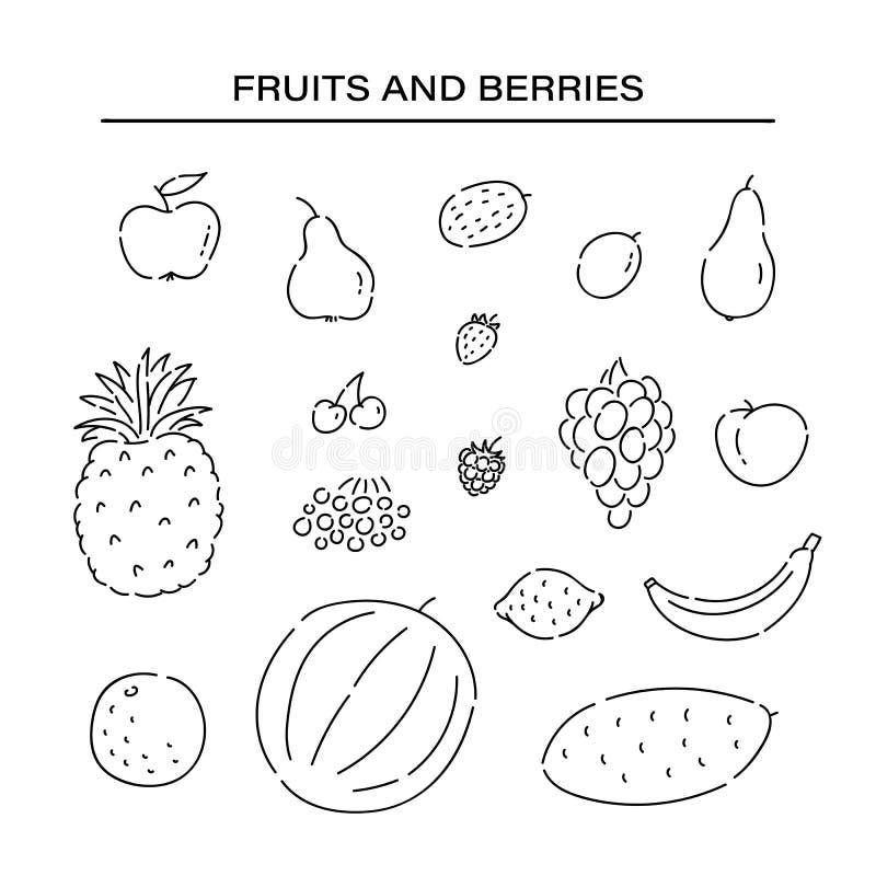 Diversas frutas fijadas alinean iconos del garabato Ejemplo aislado negro de la dieta de la planta de las comidas del bosquejo ve libre illustration