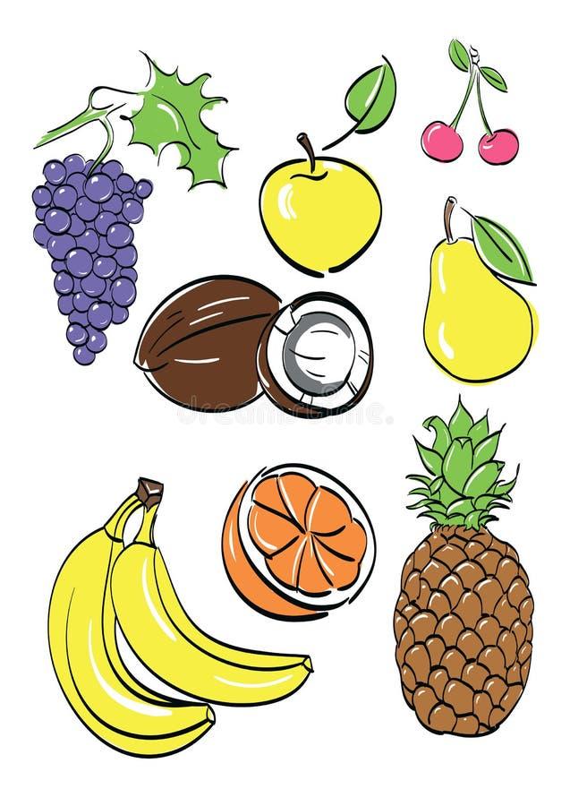 Diversas frutas fijadas. ilustración del vector stock de ilustración