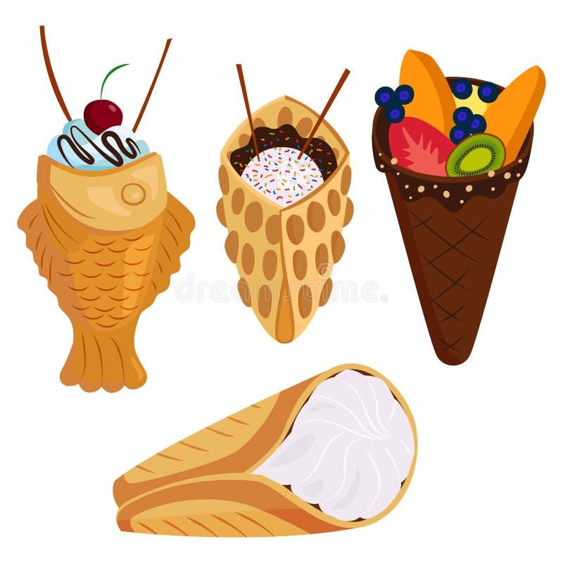 Diversas galletas de la oblea se enrollan ejemplo curruscante delicioso de la comida de la panadería del postre de crema del boca ilustración del vector