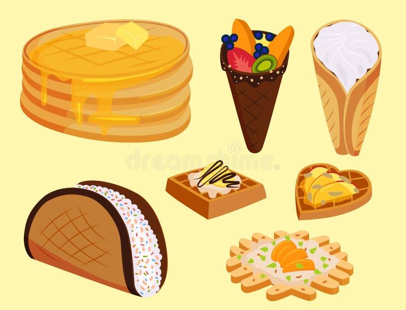 Diversas galletas de la oblea se enrollan vector curruscante delicioso de la comida de la panadería del postre poner crema del bo libre illustration