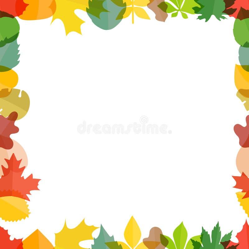 Diversas hojas de otoño del color que saludan el marco ilustración del vector