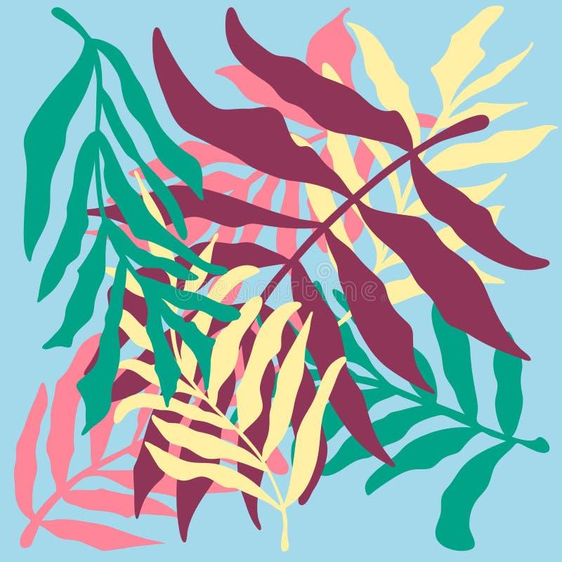 Diversas hojas del trópico fijadas en fondo azul ilustración del vector