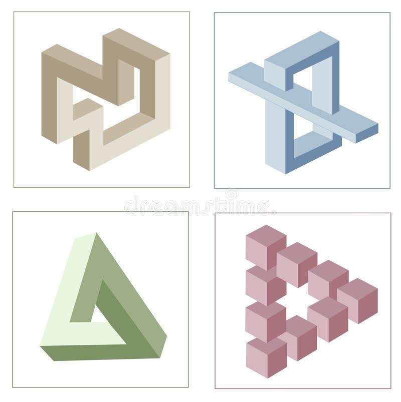 Diversas ilusiones ópticas de objetos imposibles stock de ilustración
