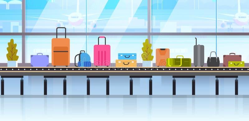 Diversas maletas en la banda transportadora del equipaje en aeropuerto ilustración del vector