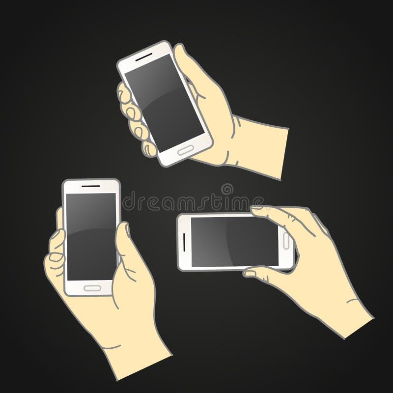 Diversas manos con la colección moderna del vector del smartphone D plana libre illustration