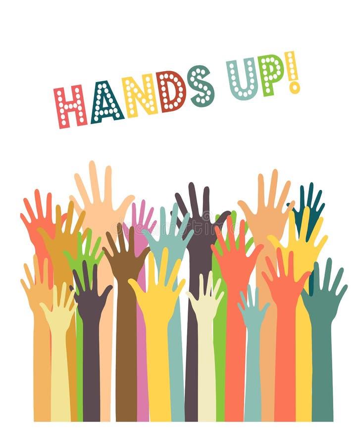 Diversas manos de los colores para arriba libre illustration