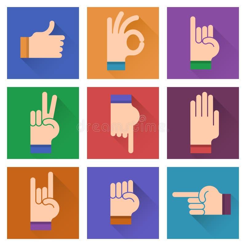 Diversas manos, gestos, ejemplo plano del diseño de las señales; stock de ilustración