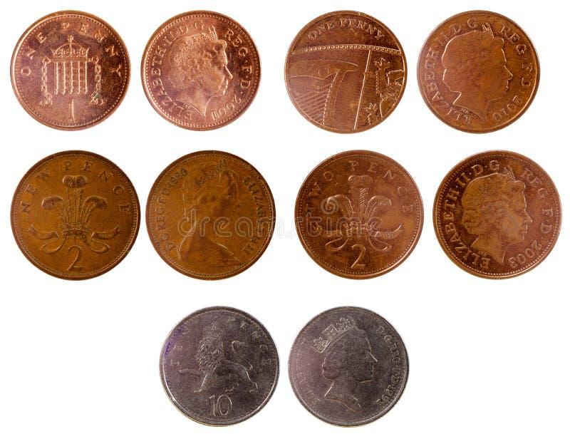 Diversas monedas británicas viejas fotografía de archivo libre de regalías