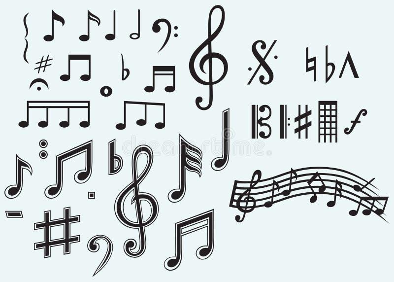 Diversas notas musicales stock de ilustración