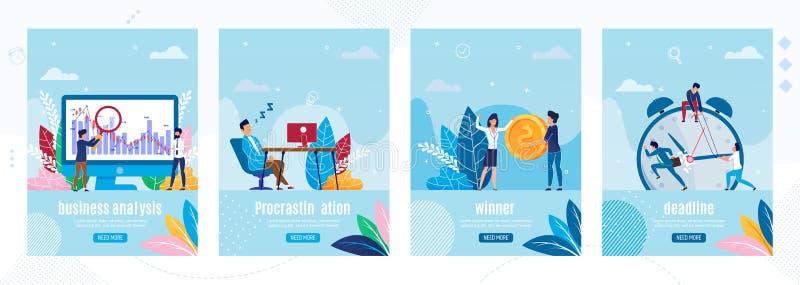 Diversas páginas de aterrizaje móviles de las situaciones de negocio libre illustration