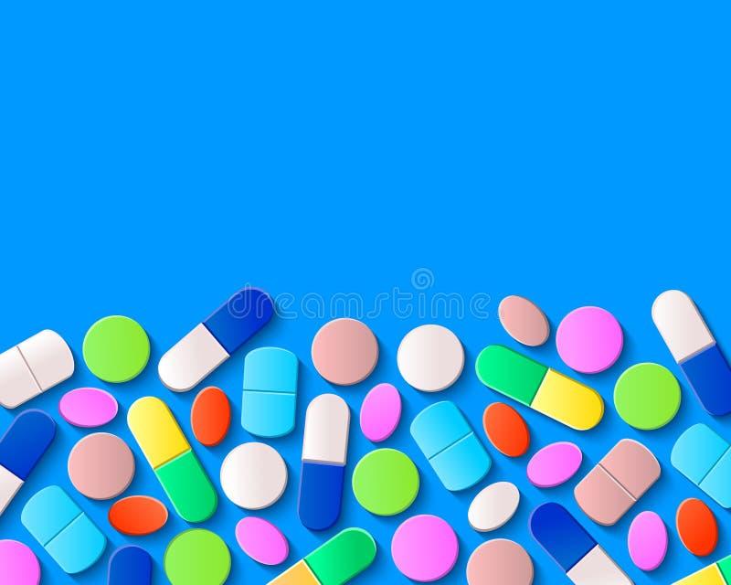 Diversas píldoras, tabletas y cápsulas en fondo azul ilustración del vector