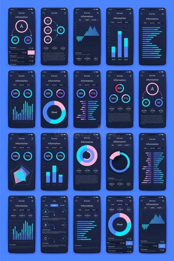 Diversas pantallas de UI, de UX, del GUI e iconos planos del web para los apps m?viles ilustración del vector
