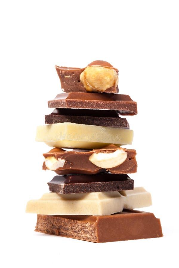 Diversas partes diferentes do chocolate fotografia de stock royalty free