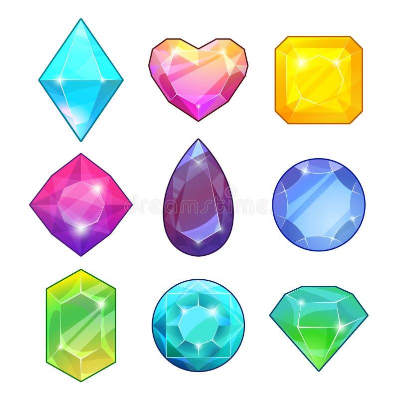 Diversas piedras preciosas Brilliants y diamantes en estilo de la historieta Ejemplos del vector para los proyectos de diseño de  ilustración del vector