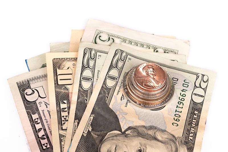 Diversas pilhas de moedas americanas com algum dólar imagem de stock royalty free
