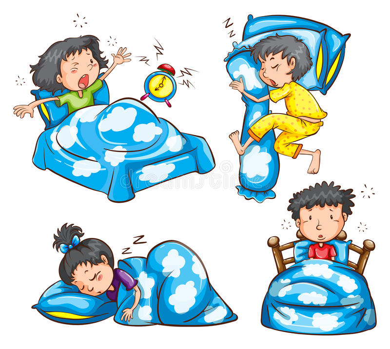 Diversas posición y reacción de niños ilustración del vector
