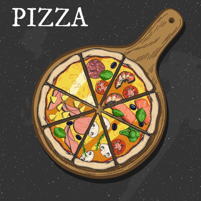 Diversas rebanadas de la pizza ilustración del vector