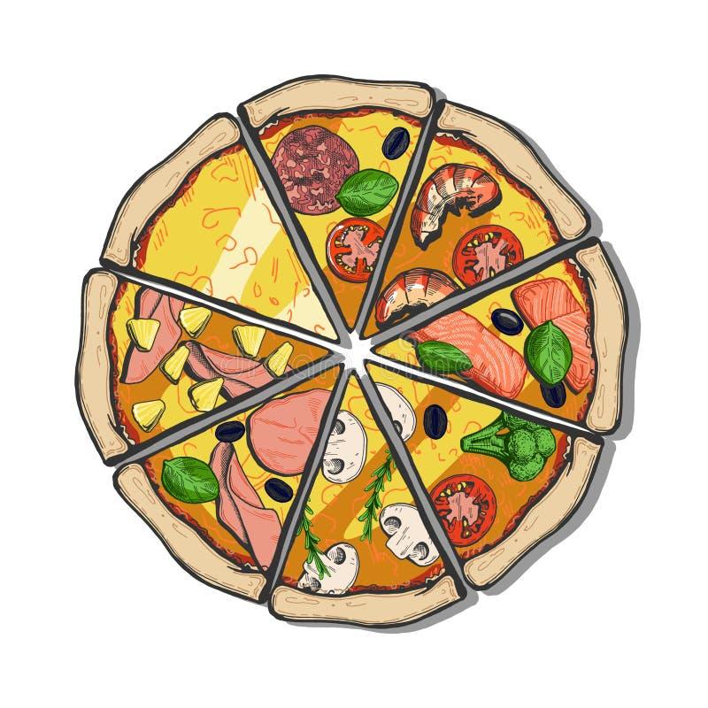 Diversas rebanadas de la pizza libre illustration