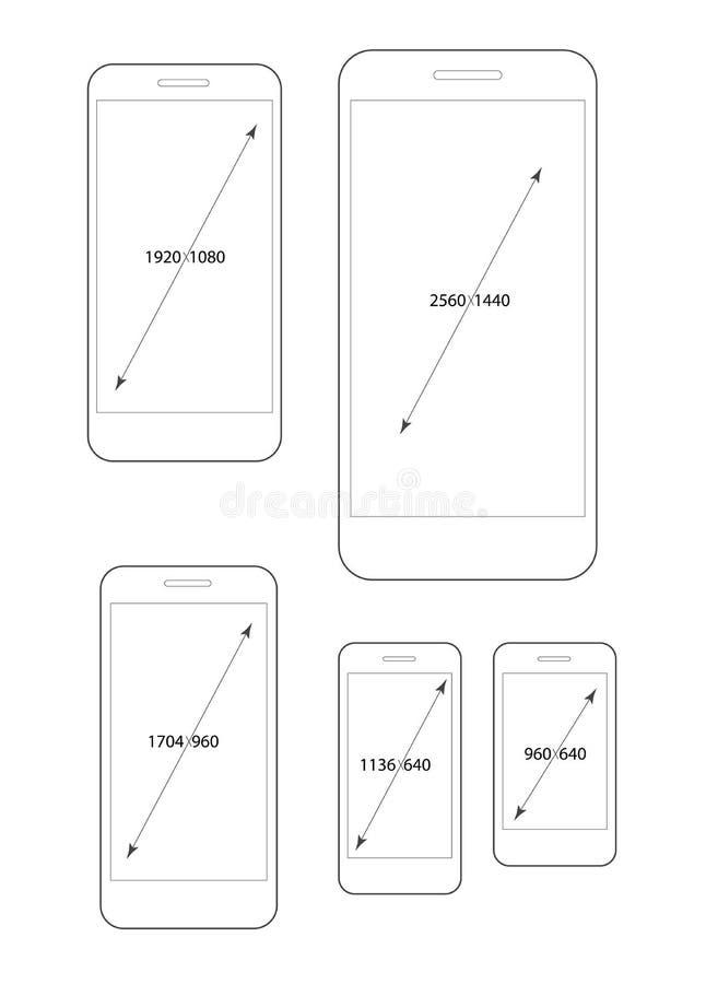 Diversas resoluciones modernas del smartphone fijadas libre illustration