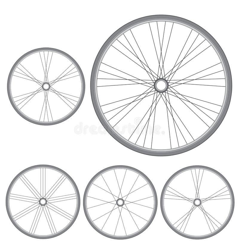 Diversas ruedas de bicicleta en un fondo blanco ilustración del vector