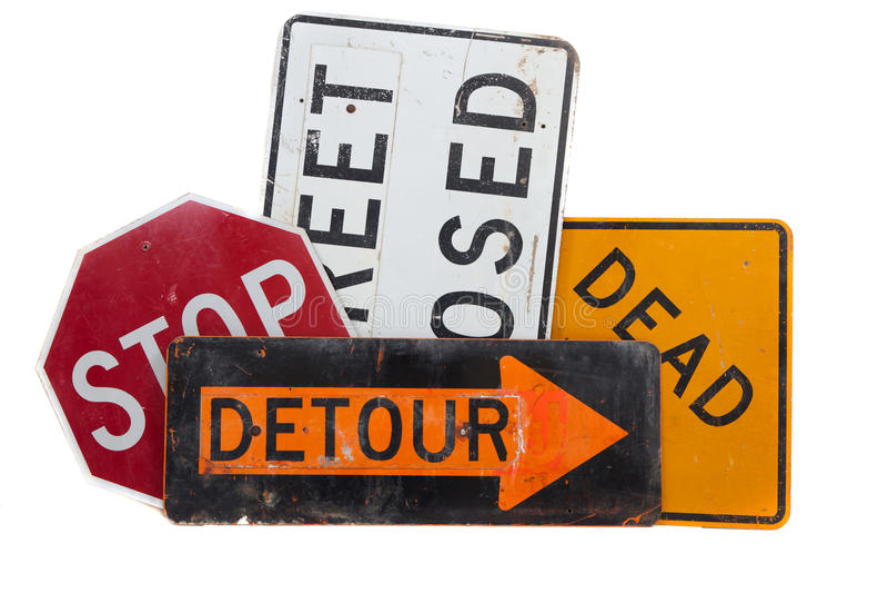 Diversas señales de tráfico en un fondo blanco imagen de archivo libre de regalías