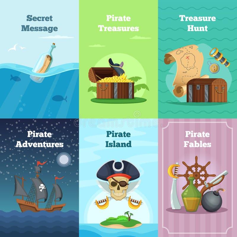 Diversas tarjetas de la invitación del tema del pirata Ejemplos del vector con el lugar para su texto ilustración del vector