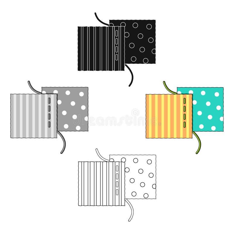 Diversas telas se cosen con el hilo La costura o la adaptación icono del equipo de herramientas del solo en historieta diseña la  stock de ilustración
