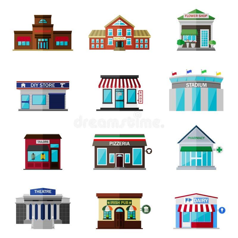 Diversas tiendas, edificios y sistema plano del icono de las tiendas stock de ilustración